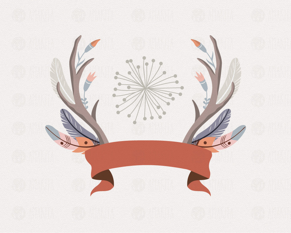 Antler clipart hipster. Tribal clip art feather