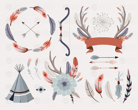Tribal clip art feather. Antler clipart hipster