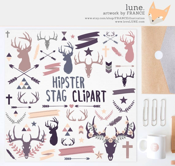 for stag antlers. Antler clipart hipster