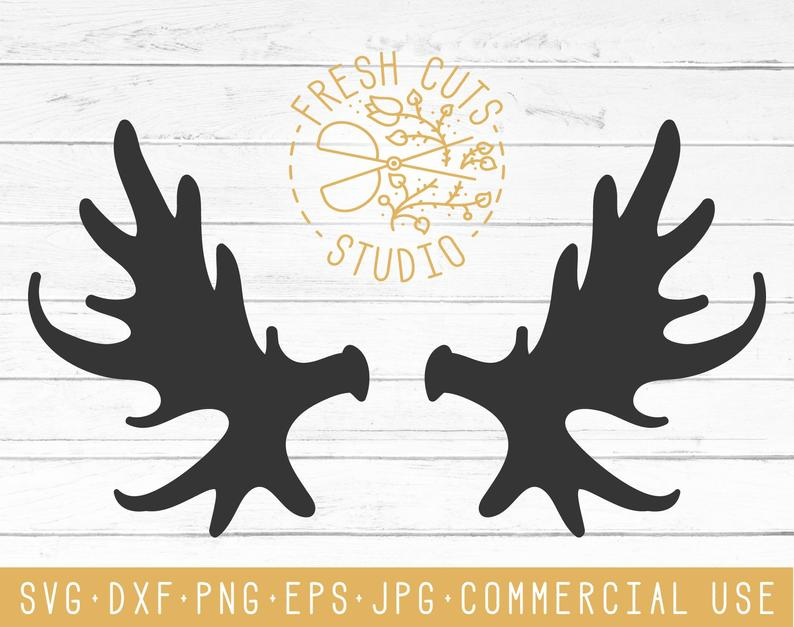 Svg cut files design. Antler clipart moose