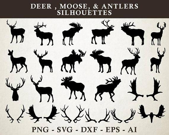 Antlers clipart moose. Deer svg antler silhouette