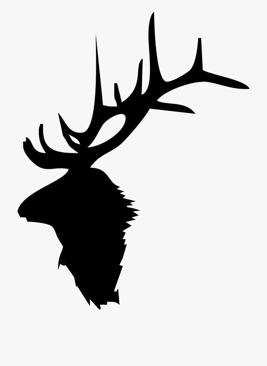 Moose silhouette elk head. Antlers clipart outline