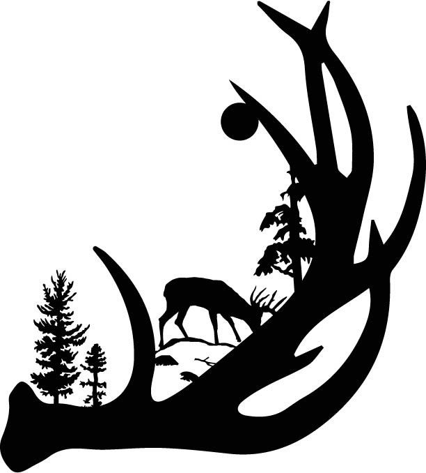 Antler clipart outline. Antlers silhouette at getdrawings