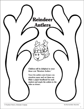 Pattern printable arts crafts. Antlers clipart reindeer ear