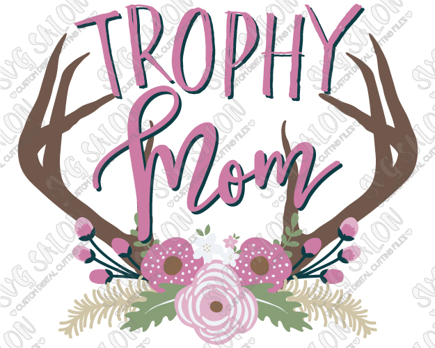 Antlers clipart printable. Trophy mom southern floral
