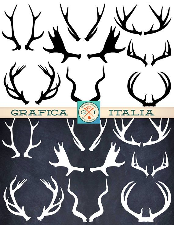 Antler elements deer elk. Antlers clipart printable