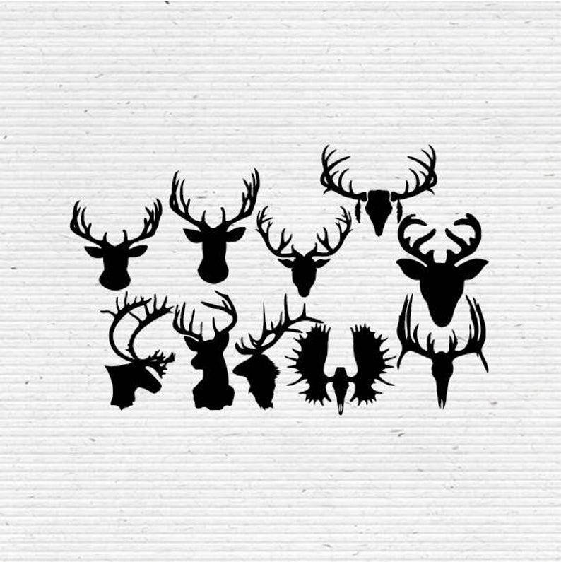 Antlers clipart printable. Animal antler silhouette digital