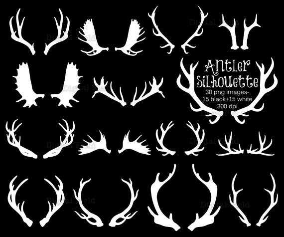Antler silhouette clip art. Antlers clipart printable