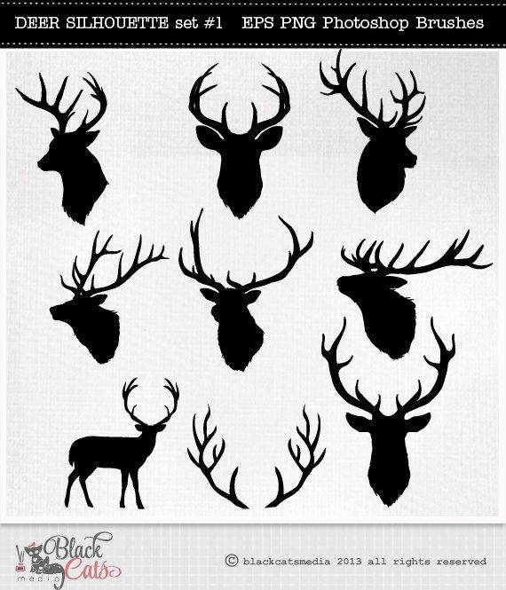 Deer head silhouettes reindeer. Antler clipart profile