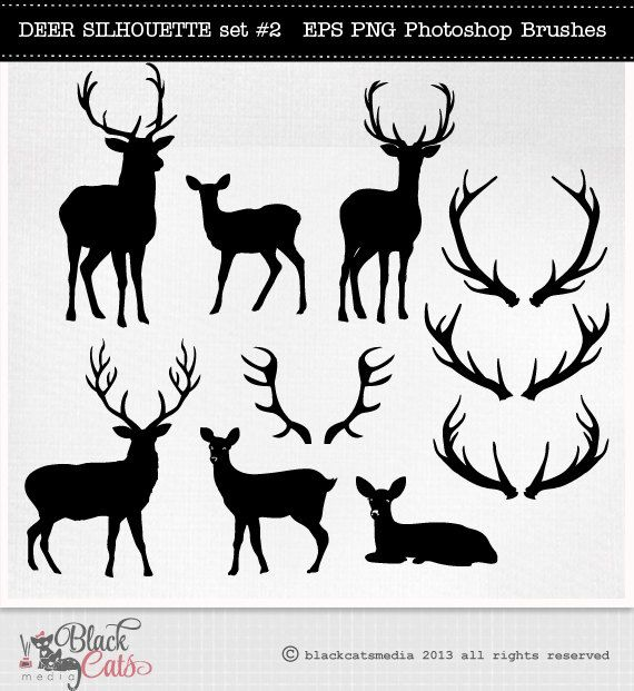 Deer cliparts silhouettes reindeer. Antlers clipart profile