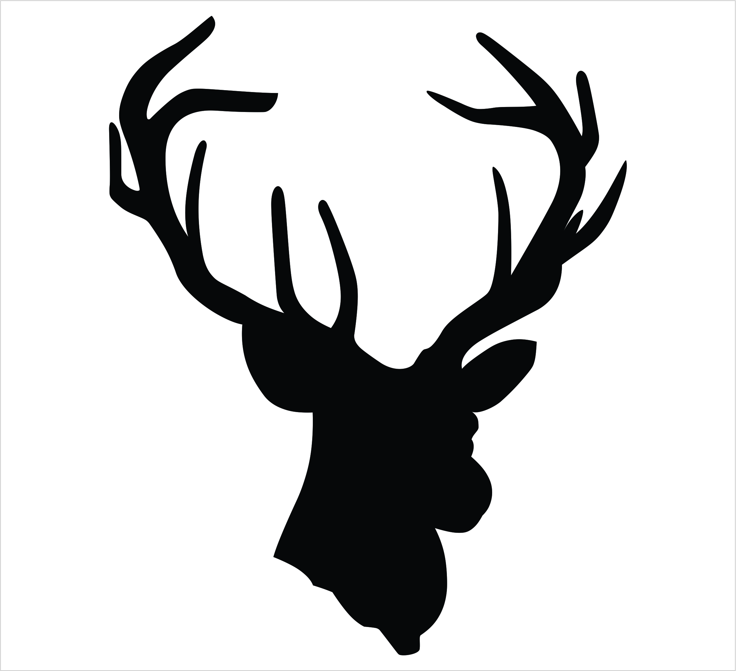 Silhouette of a head. Antler clipart profile