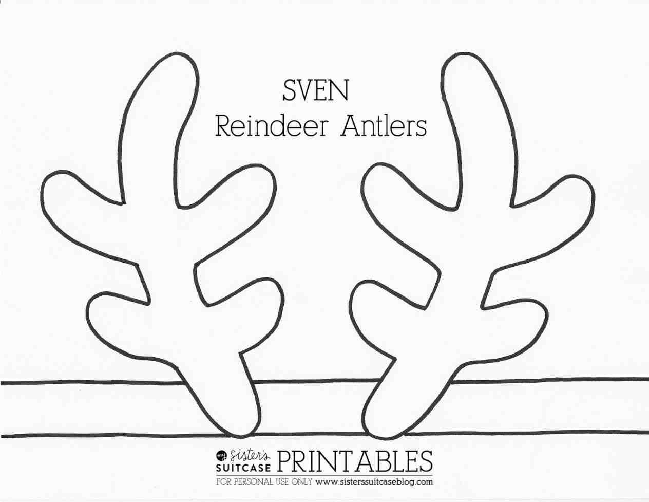 Reindeer antlers template printable. Antler clipart raindeer