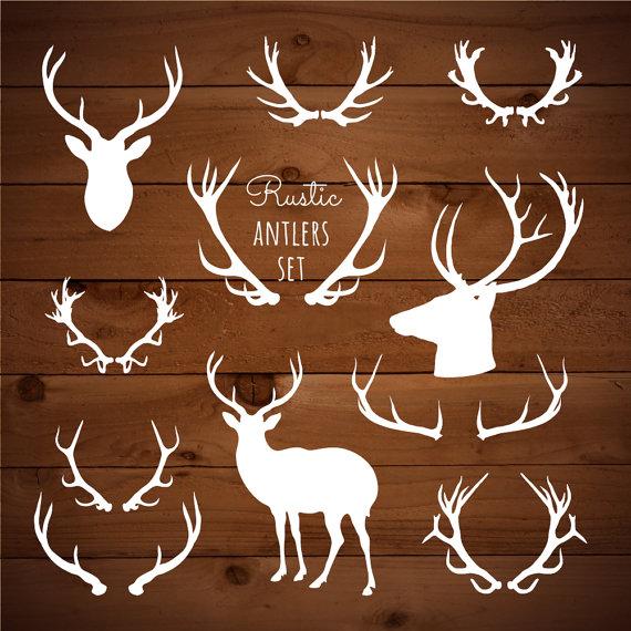 Rustic woodland reindeer tribal. Antlers clipart boho