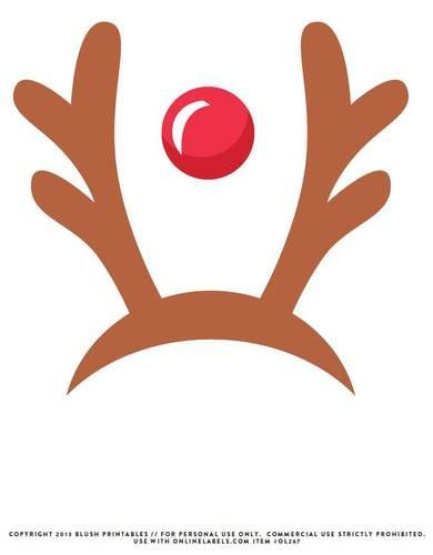 Reindeer red nose photo. Antlers clipart printable