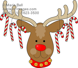 Christmas reindeer with candy. Antler clipart reindeer's