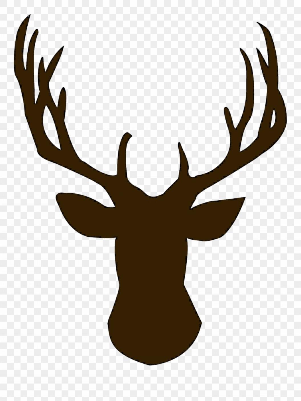 Deer head silhouettes reindeer. Antler clipart reindeer's