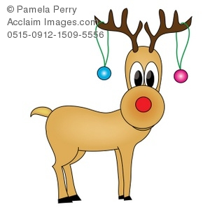Clip art illustration of. Antlers clipart rudolph