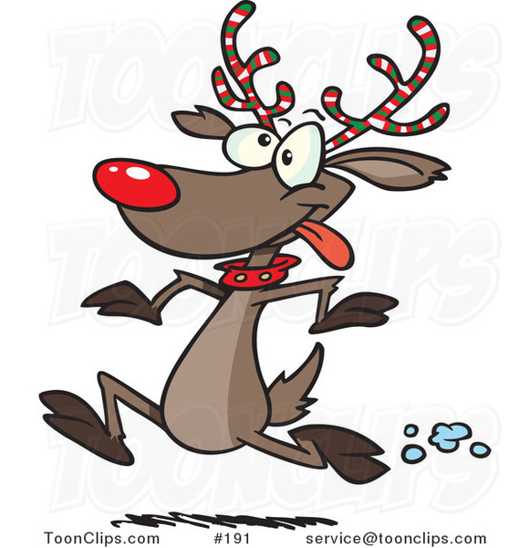 Cartoon with festive white. Antler clipart rudolph the red nosed reindeer