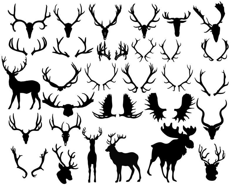 Animal clip art deer. Antler clipart silhouette