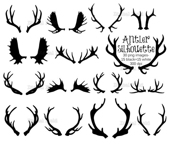 Antler clip art set. Antlers clipart silhouette