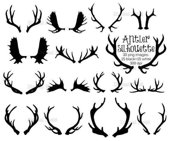 Antler clipart silhouette. Clip art set deer