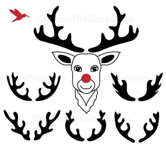 Antler clipart silhouette. Digital deer clip items