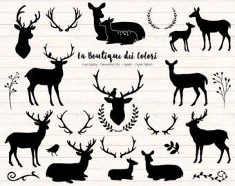 Deer head etsy black. Antler clipart silhouette