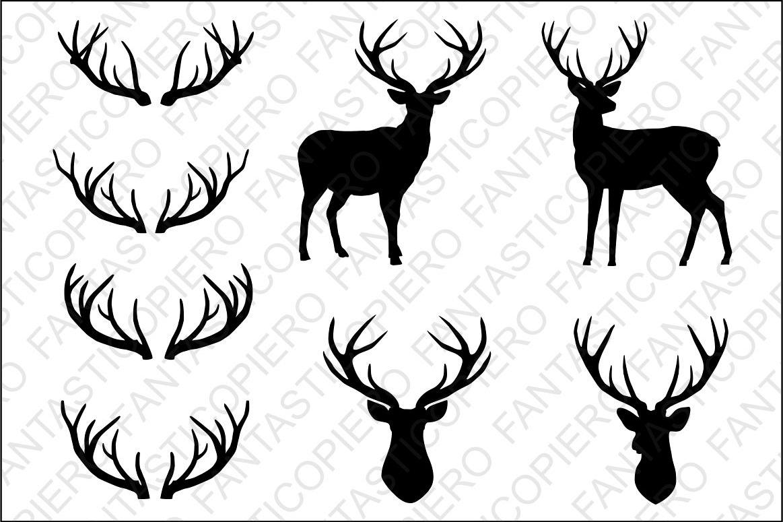 Deer head antlers svg. Antler clipart silhouette