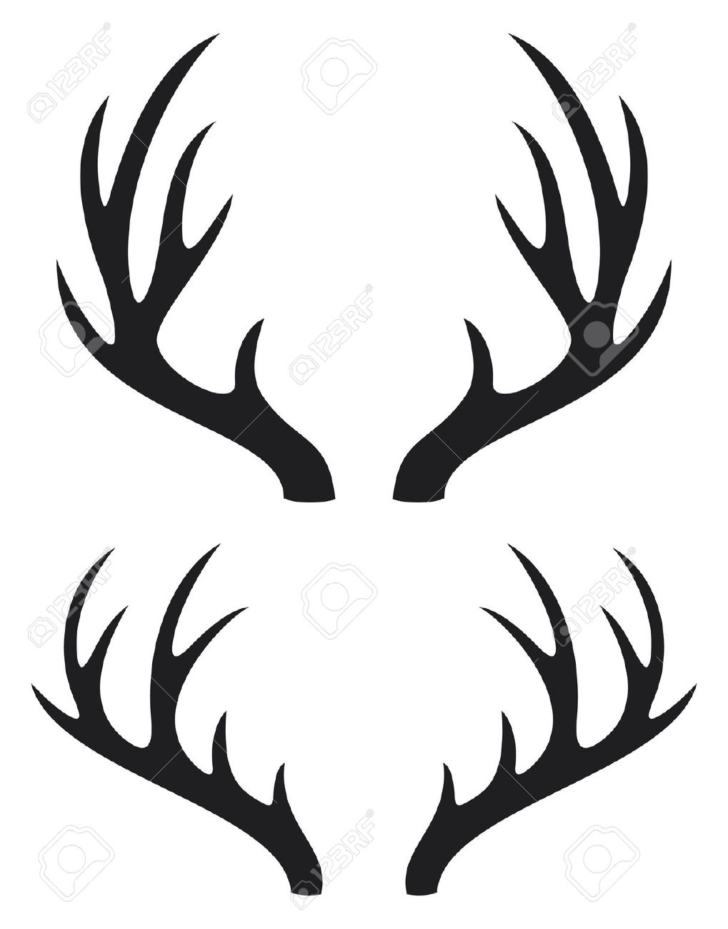 Antlers clipart single. Antler silhouette at getdrawings