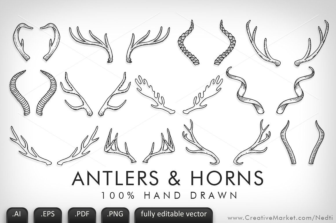Antlers clipart sketch. And horns handdrawn vector