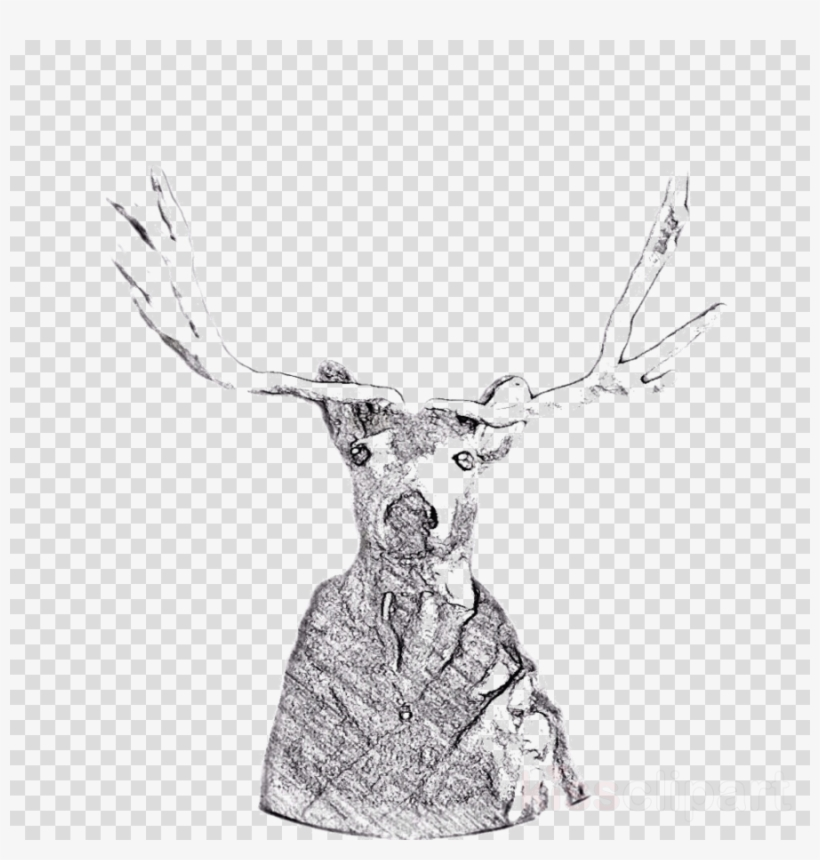 Mecca hills reindeer clip. Antler clipart sketch