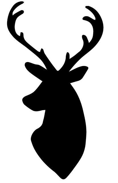 Deer head silhouette cutouts. Antlers clipart stencil