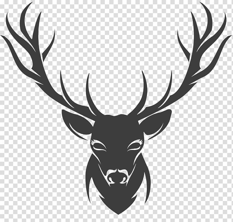 Black deer with illustration. Antler clipart stencil