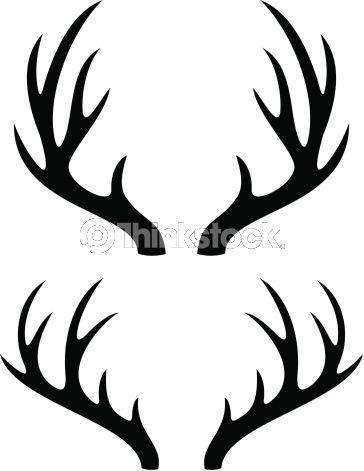 Vector art deer horns. Antler clipart stencil