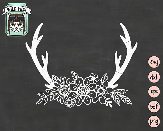 Antler clipart svg. Floral deer antlers flowers