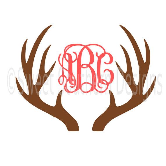 Deer monogram instant download. Antler clipart svg