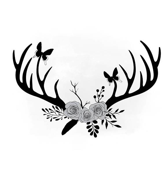 Antlers clipart svg. Floral antler flower boho