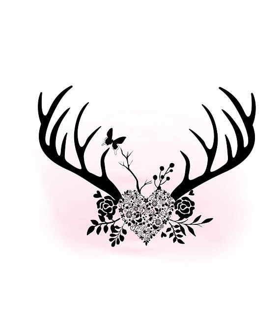 Floral heart boho decal. Antlers clipart svg