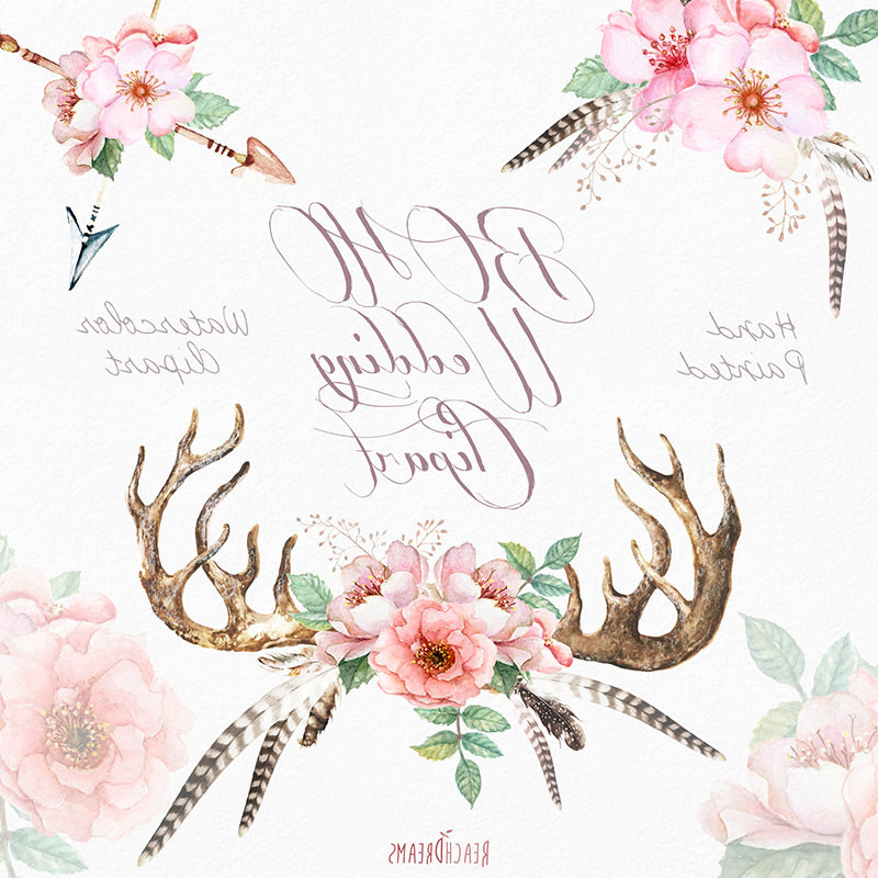 Antler clipart transparent background. Mountain wedding invitations luxury