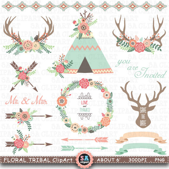 Floral tribal teepee tents. Boho clipart tent