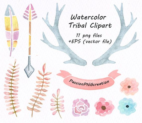 Watercolor floral clip etsy. Antler clipart tribal