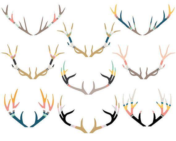 Painted antlers deer stag. Antler clipart tribal
