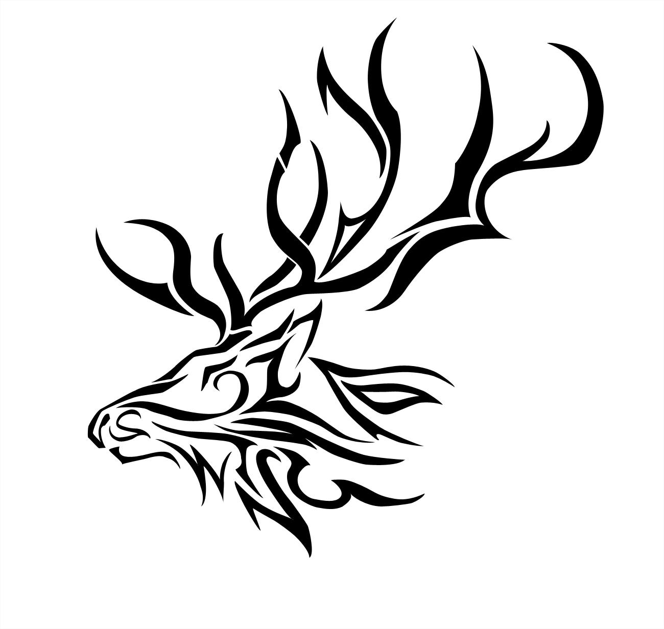 Antlers clipart tribal. Free deer head download