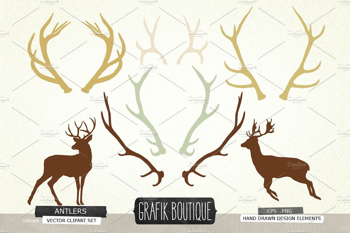 Antlers clipart vector. Deer silhouette clip illustrations