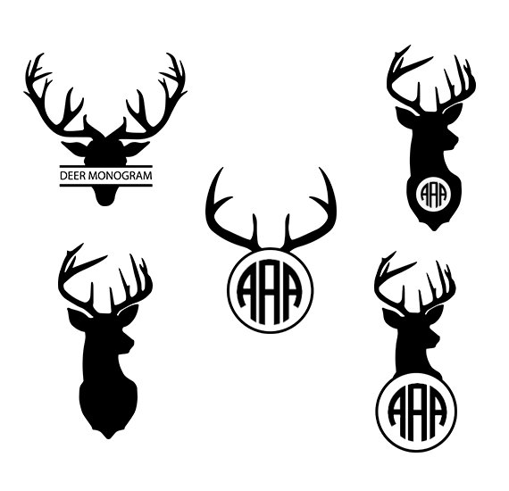 Deer svg monogram head. Antler clipart vector