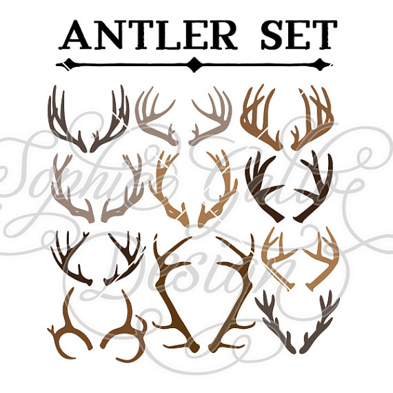 Deer set svg dxf. Antler clipart vector