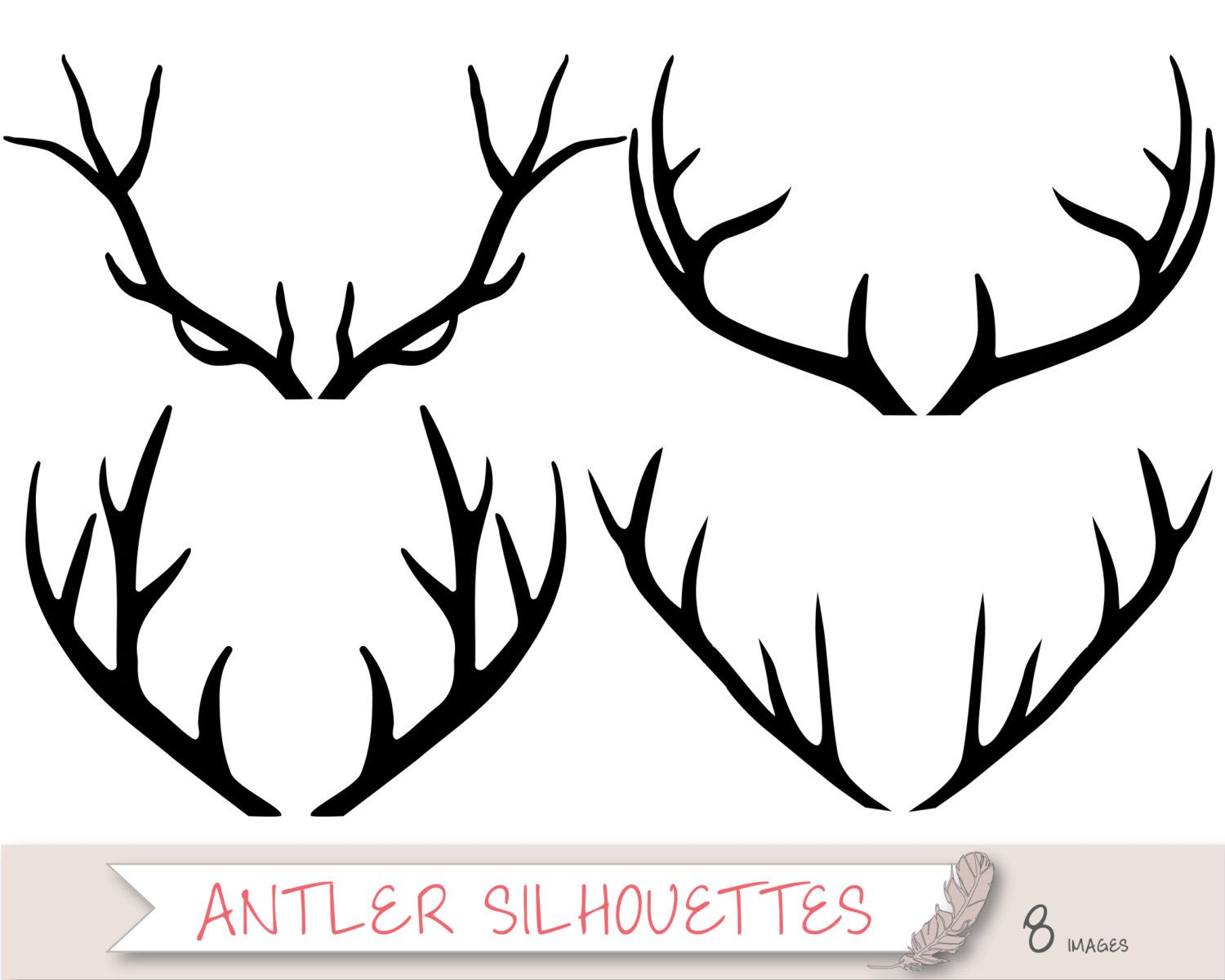 Deer with vector free. Antlers clipart silhouette