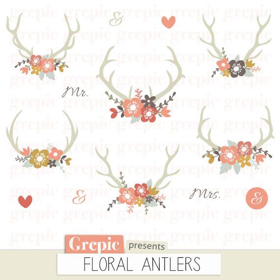 Antlers clipart vintage. Floral rustic wedding antler