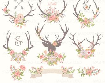 Christmas antlers with wedding. Antler clipart vintage