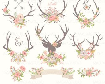 Antler clipart vintage. Navy with floral anchor
